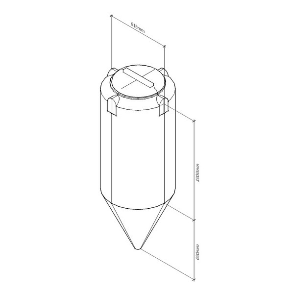 Емкость вертикальная цилиндрическая с коническим дном B350 (ЦКТ цилиндроконический танк)