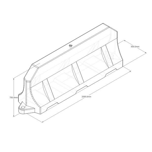 Водоналивной барьер (дорожный блок) малый 2,0м