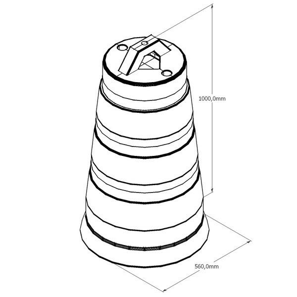 буфер конусный разделительный, баррел, barrel, буфер бочка, сигнальный буфер дорожный