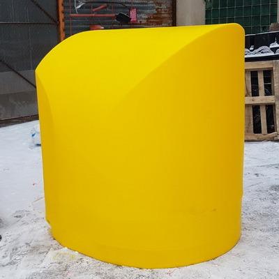 Дорожная тумба ДТ1 Большая 1350х1350х1500, буфер дорожный осевой, разделительный отбойник, пластиковый буфер, маска знака, ограждение 11-до