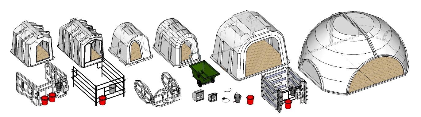 линейка пластиковых домиков для телят ПЛАСТО