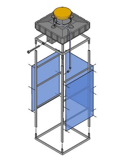 Бак душевой пластиковый 120л 250л стандартный под ТЭН(пластиковая емкость)