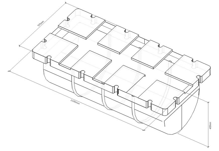 Модуль плавучести 1100, пластиковый понтон, элемент плавучести