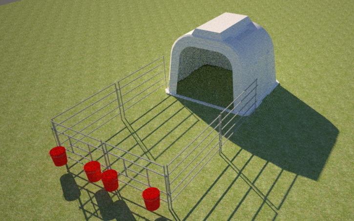 Групповой домик для содержания телят