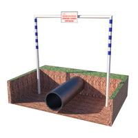 П-образный предупреждающий знак (аншлаг) совместно с предупреждающим знаком «Внимание нефтепровод! Движение техники запрещено!»