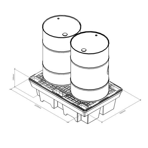 Поддон для локализации утечек NP2 для двух стандартных бочек