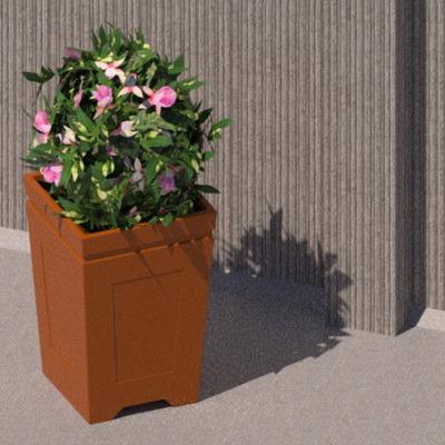 Вазон пластиковый V1500, пластиковый уличный вазон для цветов, горшок для цветов, уличный вазон для крупногабаритных растений